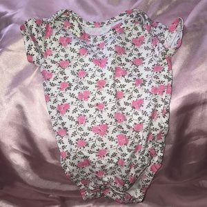 Baby onesie. Pink Rose's with gray vines